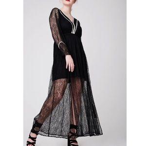 Nordstrom Elvi Premium Black Lace Maxi Dress 16
